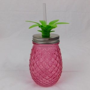 Pink pineapple jar drinking glass